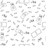 Seamless pattern with money Royalty Free Stock Image