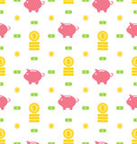 Seamless Pattern with Moneybox, Bank Notes, Coins, Flat Finance Icons Stock Photography