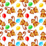 Seamless pattern from monkey with banana and balloons Stock Photos