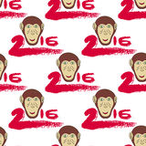 2016 seamless pattern with monkey head and Stock Photo