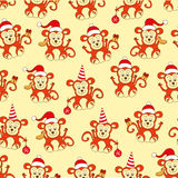 Seamless pattern monkey for new year Royalty Free Stock Photos
