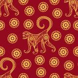 Seamless pattern with monkey 16. Seamless texture of fire monkey, symbol of 2016. pattern of ape, decorated with floral pattern. Suitable for New Years design Vector Illustration
