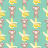 Seamless pattern with monkeys and bananas vector illustration