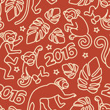 Seamless pattern with monkeys symbol of the 2016 year. Vector seamless pattern with monkeys and 2016 numbers stock illustration