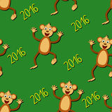 Seamless pattern with monkeys and 2016 year. Funny seamless for your design Stock Images