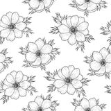 Seamless pattern with monochrome anemone. Seamless pattern black and white anemone, vintage pattern of monochrome wind flower, vector design for card, mothers Stock Photography