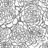 Seamless pattern with monochrome, black and white flowers. Royalty Free Stock Photo