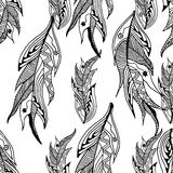 Seamless pattern of monochrome feathers style zentangle Royalty Free Stock Images
