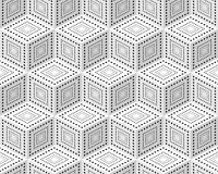 Seamless pattern from monochrome isometric cubes. Cuba on a white background. The pattern of dots and lines Royalty Free Stock Image