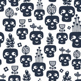 Seamless pattern with monochrome skulls with plants. Royalty Free Stock Image