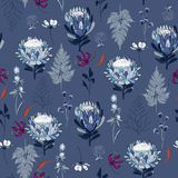 Seamless Pattern monotone blue protea flowers,  Isolated on  blu Royalty Free Stock Photo