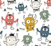 Seamless pattern with monster . childish vector illustration. royalty free stock photography
