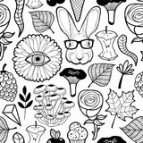 Seamless pattern with monster flower eye and hipster rabbit in glasses. Black and white illustration for coloring Royalty Free Stock Photos