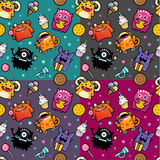 Seamless pattern with monster and food Royalty Free Stock Photo