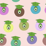 Seamless pattern of monster with graduation cap Royalty Free Stock Image