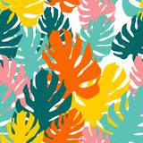 Seamless pattern with monster leaves. Overlapping art in collage style. Bright tropical wallpaper royalty free illustration