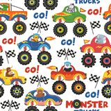 Seamless pattern monster trucks with animals on white background. Vector illustration, eps Stock Photos