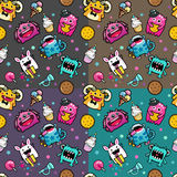 Seamless pattern with monster and weet food Stock Images
