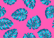 Seamless pattern with monstera leaves. Decorative image of tropical foliage.  Stock Image