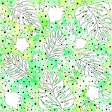 Seamless pattern with monstera leaves and tropical flowers, drawn with ink. Seamless pattern with monstera leaves and tropical flowers on green background, drawn vector illustration
