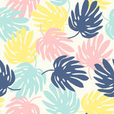 Seamless pattern with monstera leaves Stock Photo