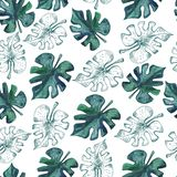 Seamless pattern with monstera leaves. Watercolor illustration. Seamless pattern with monstera leaves. Watercolor illustration stock photos