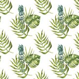 Seamless pattern of tropical palm leaves stock image
