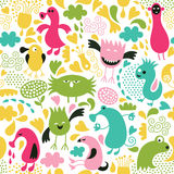Seamless pattern with monsters Royalty Free Stock Image