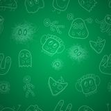 Seamless pattern with monsters. At green background vector illustration