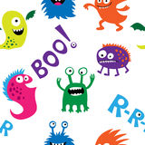 Seamless pattern with monsters and inscriptions Royalty Free Stock Photos