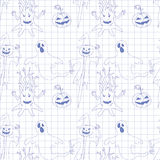 Seamless pattern with monsters in notebook. Print for Halloween. Royalty Free Stock Photo