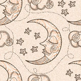 Seamless pattern with moon and clouds. Stock Photo