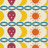 Seamless pattern moon, skulls and the sun Stock Photo