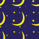 Seamless pattern of the moon and stars Royalty Free Stock Images