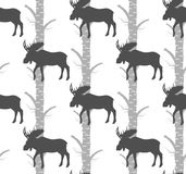 Seamless pattern,moose. baby fabric.quilt. Seamless pattern,moose and birch tree. baby fabric.quilt Stock Photos