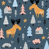 Seamless pattern with moose in forest royalty free illustration