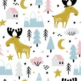 Seamless pattern with moose in forest vector illustration