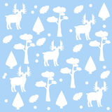Seamless pattern of moose, pine tree and spruce, brown background. Stock Photography