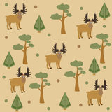 Seamless pattern of moose, pine tree and spruce, brown background. Vector Illustration. Summer/Fall Collection. Seamless pattern of moose, pine tree and spruce Stock Photo
