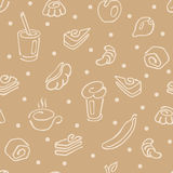 Seamless pattern, morning coffee, tea and breakfast pastries. Seamless pattern of simple linear symbol drawn manually for coffee shops, bakeries, coffee shops Stock Photos