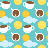 Seamless pattern. Morning coffee theme: cups with coffee, sun and clouds. Modern stylish flat illustration vector illustration