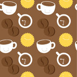 Seamless pattern. Morning coffee theme: cups with coffee, sun and coffee beans Stock Photo
