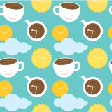 Seamless pattern morning coffee theme: cups with Stock Images