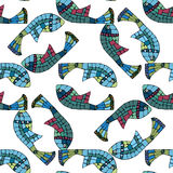 Seamless pattern with mosaic fish. Decorative background, Seamless pattern with colorful fish Stock Photography