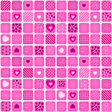 Seamless pattern mosaic with pink heart Stock Photo