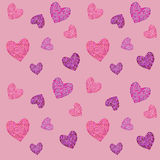 Seamless pattern with mosaic valentine`s hearts. Vector illustration stock illustration