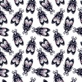 Seamless pattern with moth Dead Head, retro style. Stock Photos