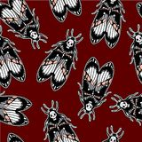 Seamless pattern with moth Dead Head, retro style. Royalty Free Stock Photography