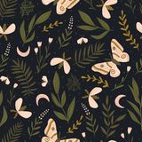 Vector seamless pattern with moths and night butterfly. Beautiful romantic print. Dark botanical design. Seamless pattern with moths and night butterfly stock illustration