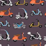 Seamless pattern with motor scooters Stock Images